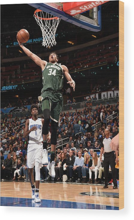 Nba Pro Basketball Wood Print featuring the photograph Giannis Antetokounmpo by Gary Bassing