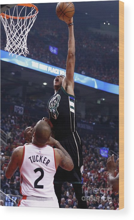 Playoffs Wood Print featuring the photograph Giannis Antetokounmpo by Mark Blinch