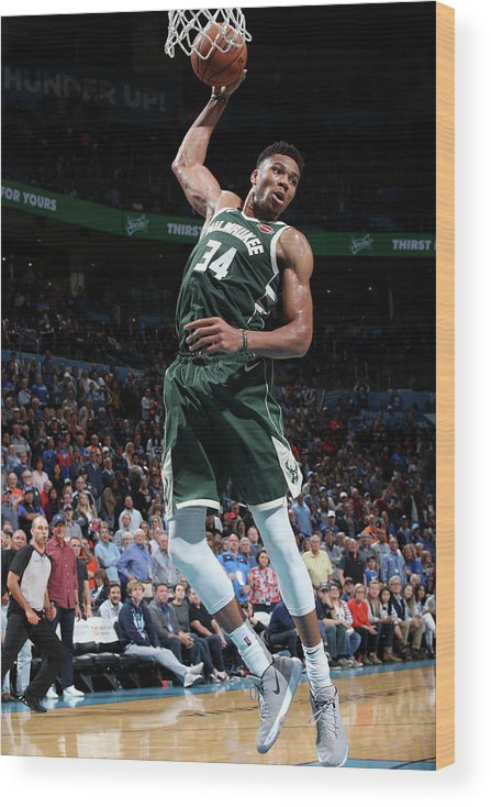 Nba Pro Basketball Wood Print featuring the photograph Giannis Antetokounmpo by Zach Beeker