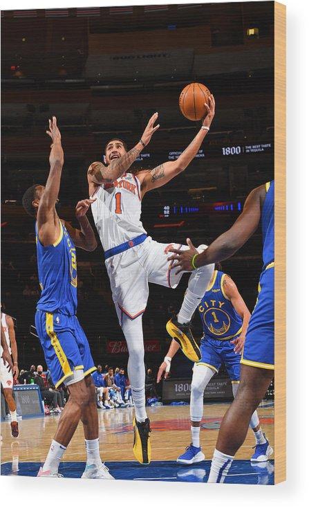 Nba Pro Basketball Wood Print featuring the photograph Golden State Warriors v New York Knicks by Jesse D. Garrabrant
