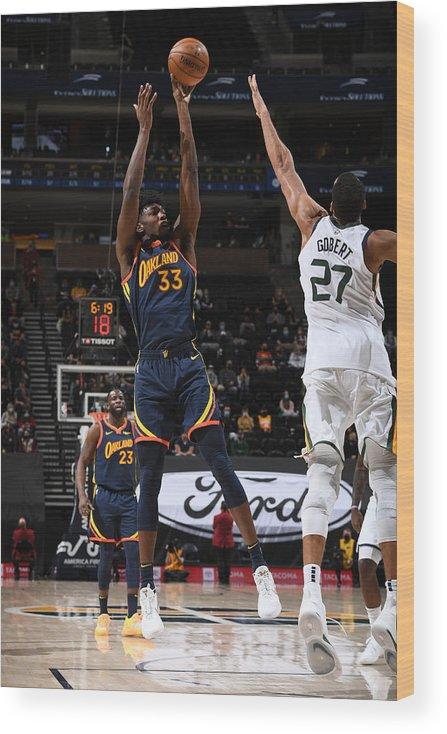 Nba Pro Basketball Wood Print featuring the photograph Golden State Warriors v Utah Jazz by Garrett Ellwood