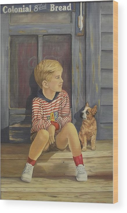 A Young Boy And His Dog Wood Print featuring the painting Grandpas Country Store by Wanda Dansereau