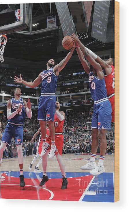 Nba Pro Basketball Wood Print featuring the photograph Harrison Barnes and Cory Joseph by Rocky Widner