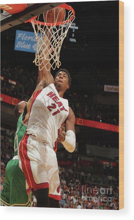 Nba Pro Basketball Wood Print featuring the photograph Hassan Whiteside by Oscar Baldizon