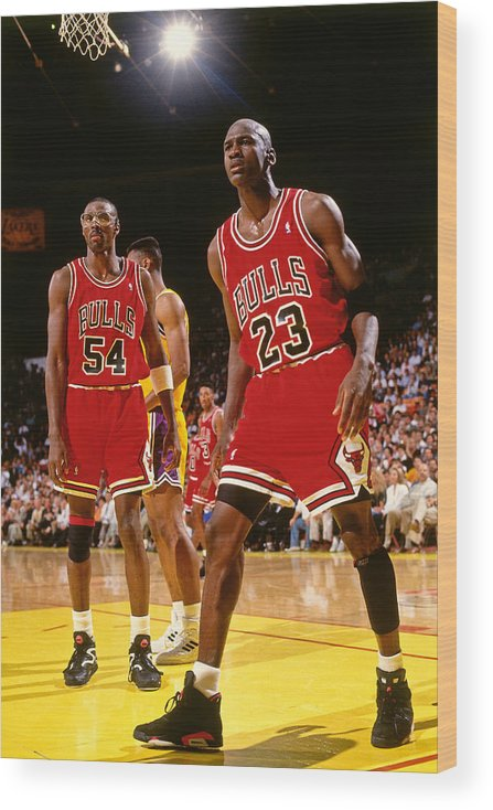 Chicago Bulls Wood Print featuring the photograph Horace Grant and Michael Jordan by Andrew D. Bernstein
