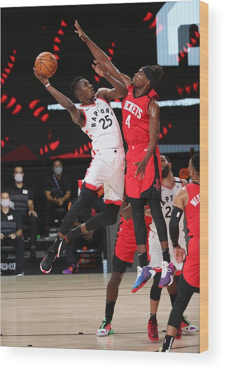 Nba Pro Basketball Wood Print featuring the photograph Houston Rockets v Toronto Raptors by Joe Murphy
