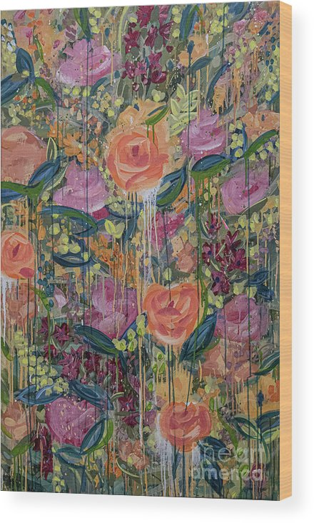 English Garden Wood Print featuring the painting In The Garden by Amanda Armstrong