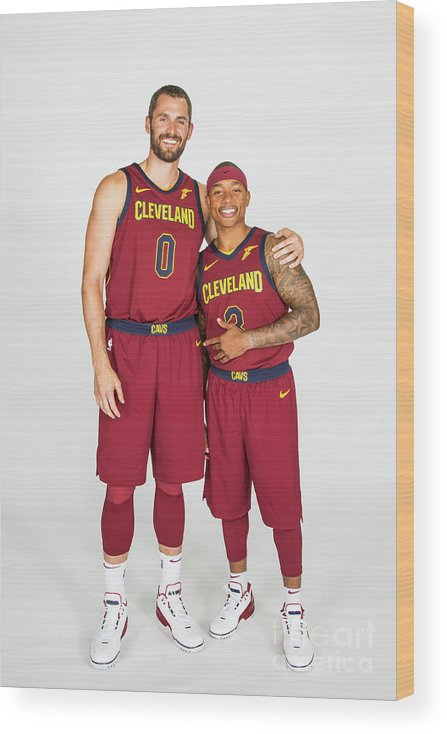 Media Day Wood Print featuring the photograph Isaiah Thomas and Kevin Love by Michael J. Lebrecht Ii
