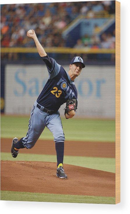 American League Baseball Wood Print featuring the photograph Jake Odorizzi by Scott Iskowitz