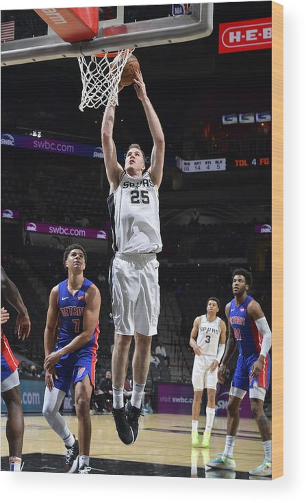 Nba Pro Basketball Wood Print featuring the photograph Jakob Poeltl by Logan Riely