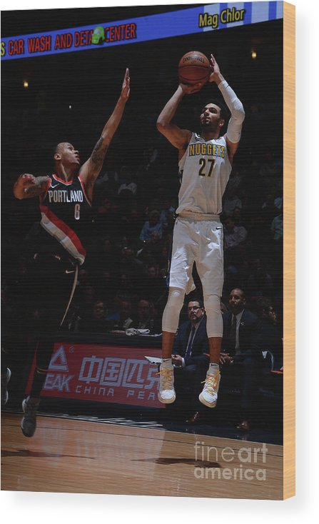Nba Pro Basketball Wood Print featuring the photograph Jamal Murray by Bart Young