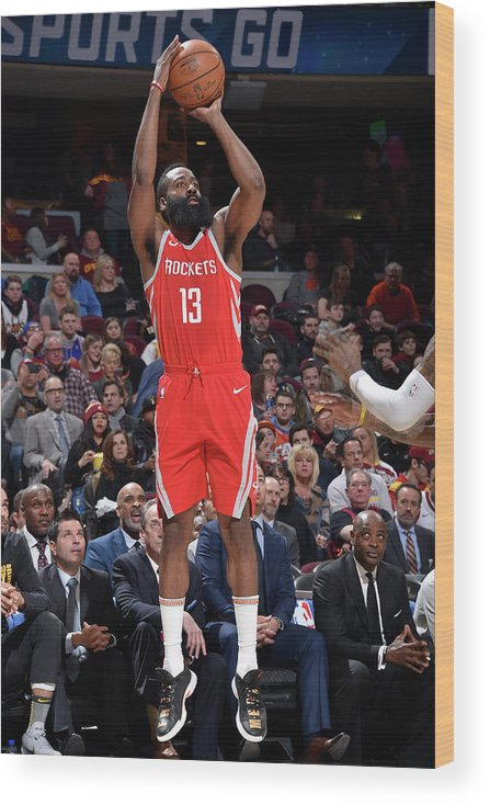 Nba Pro Basketball Wood Print featuring the photograph James Harden by David Liam Kyle