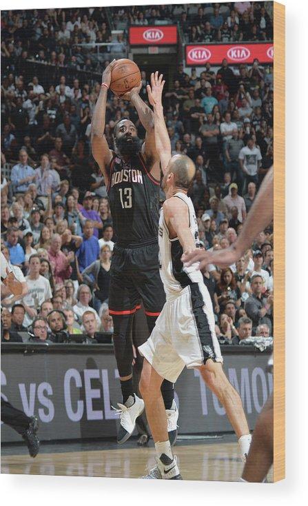 Nba Pro Basketball Wood Print featuring the photograph James Harden by Mark Sobhani