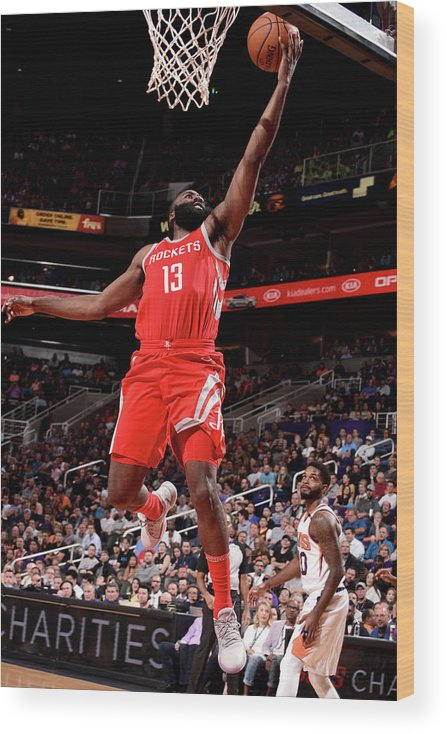 Nba Pro Basketball Wood Print featuring the photograph James Harden by Michael Gonzales