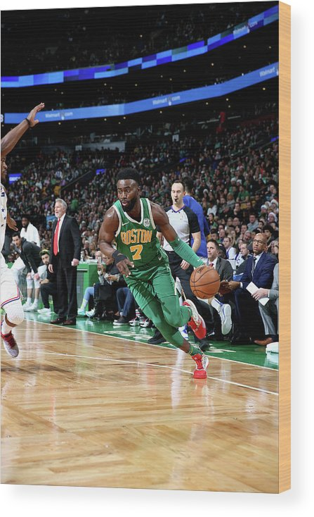 Nba Pro Basketball Wood Print featuring the photograph Jaylen Brown by Chris Marion