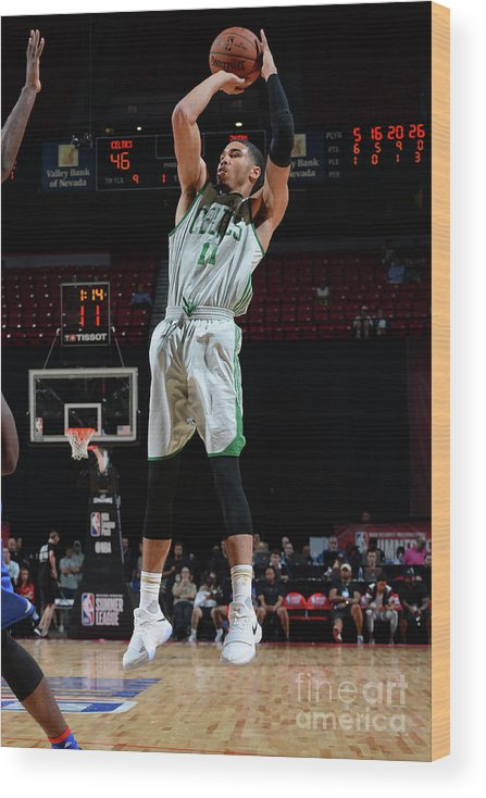 Nba Pro Basketball Wood Print featuring the photograph Jayson Tatum by Bart Young