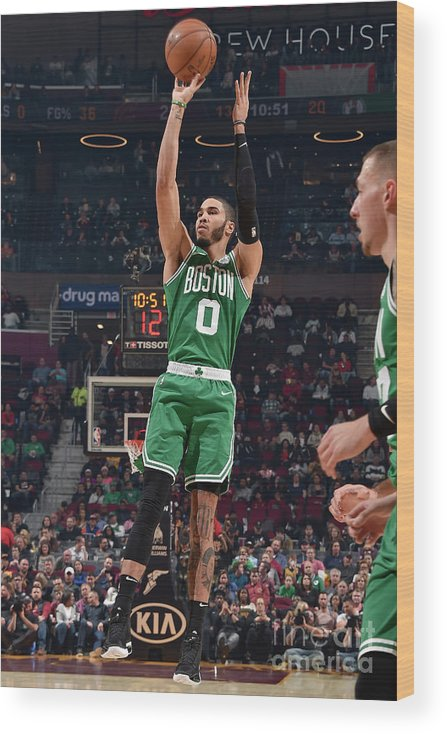 Nba Pro Basketball Wood Print featuring the photograph Jayson Tatum by David Liam Kyle