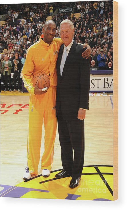Nba Pro Basketball Wood Print featuring the photograph Jerry West and Kobe Bryant by Andrew D. Bernstein