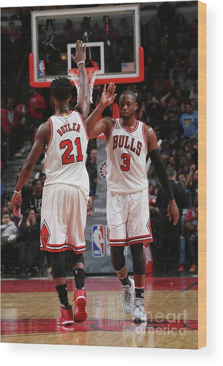 Chicago Bulls Wood Print featuring the photograph Jimmy Butler and Dwyane Wade by Gary Dineen