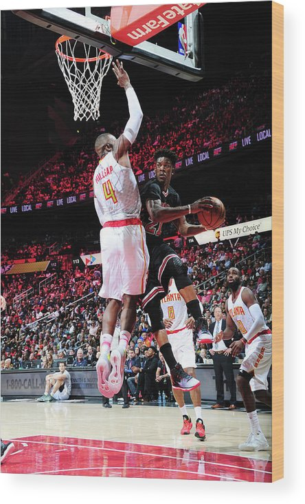 Atlanta Wood Print featuring the photograph Jimmy Butler and Paul Millsap by Scott Cunningham