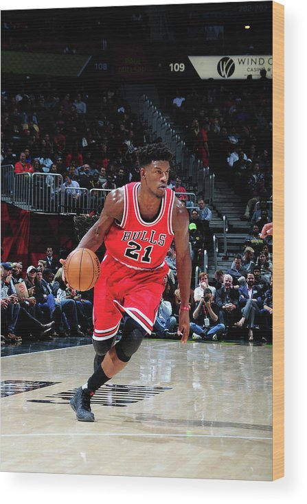 Atlanta Wood Print featuring the photograph Jimmy Butler by Scott Cunningham