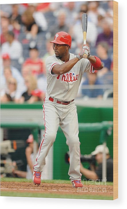 National League Baseball Wood Print featuring the photograph Jimmy Rollins by G Fiume