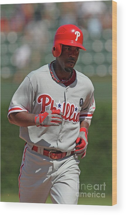 National League Baseball Wood Print featuring the photograph Jimmy Rollins by Jonathan Daniel