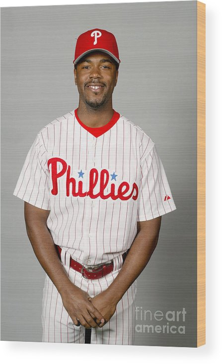 Clearwater Wood Print featuring the photograph Jimmy Rollins by Major League Baseball Photos