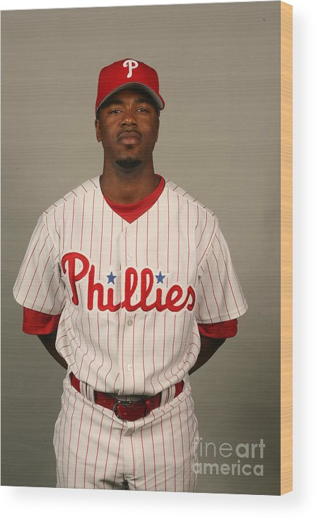 Media Day Wood Print featuring the photograph Jimmy Rollins by Robbie Rogers