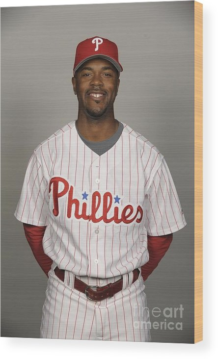 Media Day Wood Print featuring the photograph Jimmy Rollins by Tony Firriolo