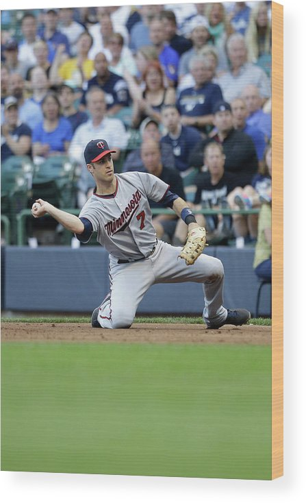 Joe Mauer Wood Print featuring the photograph Joe Mauer and Lyle Overbay by Mike Mcginnis