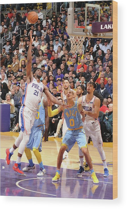 Nba Pro Basketball Wood Print featuring the photograph Joel Embiid by Andrew D. Bernstein