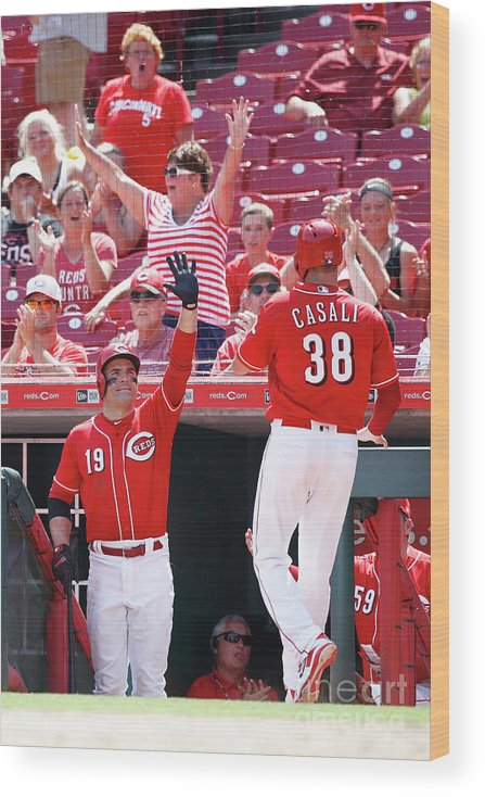 Great American Ball Park Wood Print featuring the photograph Joey Votto and Wade Davis by Joe Robbins