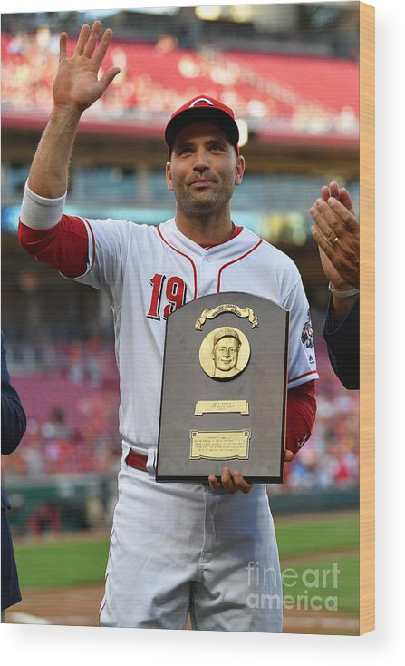 Great American Ball Park Wood Print featuring the photograph Joey Votto by Jamie Sabau