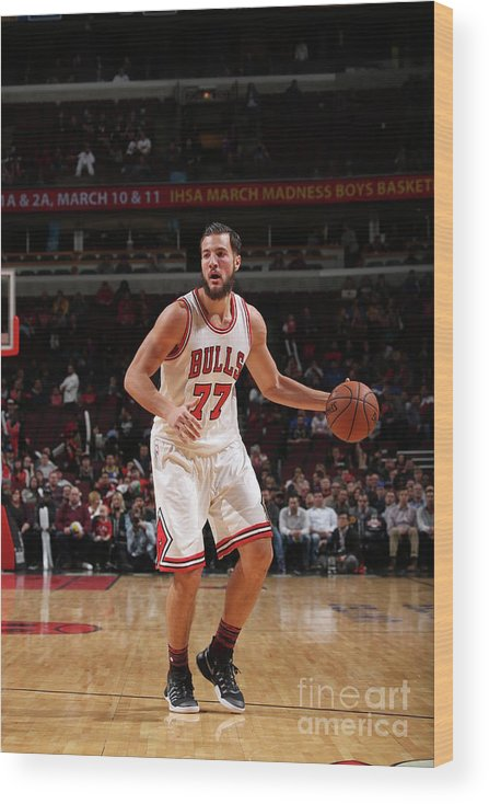 Nba Pro Basketball Wood Print featuring the photograph Joffrey Lauvergne by Gary Dineen