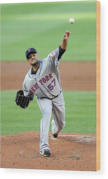 Baseball Pitcher Wood Print featuring the photograph Johan Santana by Greg Fiume