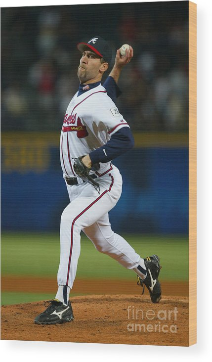 Atlanta Wood Print featuring the photograph John Smoltz by Jamie Squire
