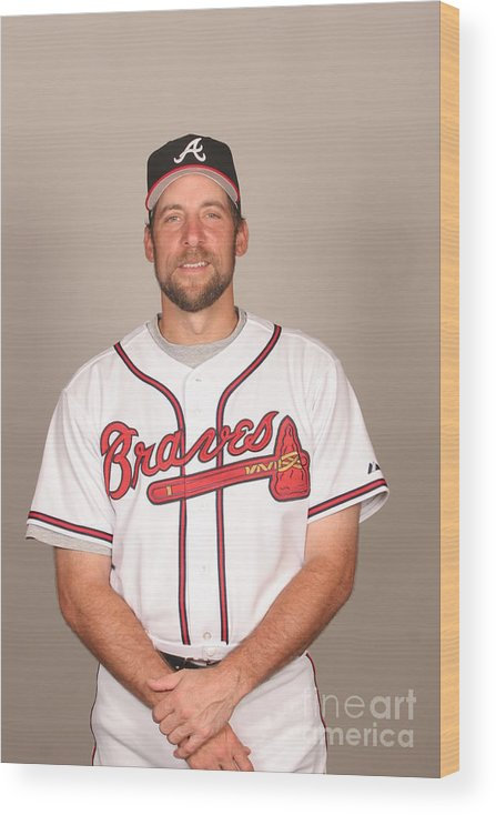 Media Day Wood Print featuring the photograph John Smoltz by Tony Firriolo