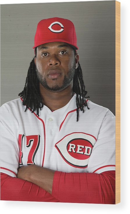 American League Baseball Wood Print featuring the photograph Johnny Cueto by Mike Mcginnis