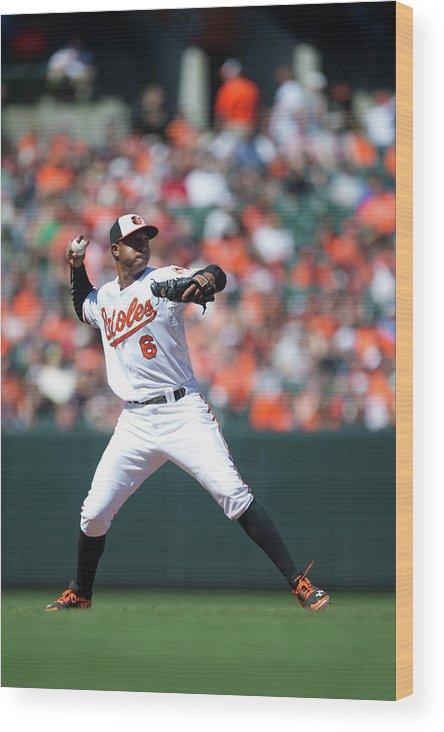 American League Baseball Wood Print featuring the photograph Jonathan Schoop by Rob Tringali