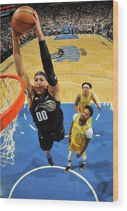 Nba Pro Basketball Wood Print featuring the photograph Jordan Bell and Aaron Gordon by Fernando Medina