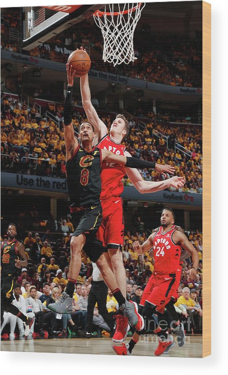 Playoffs Wood Print featuring the photograph Jordan Clarkson and Jakob Poeltl by Jeff Haynes