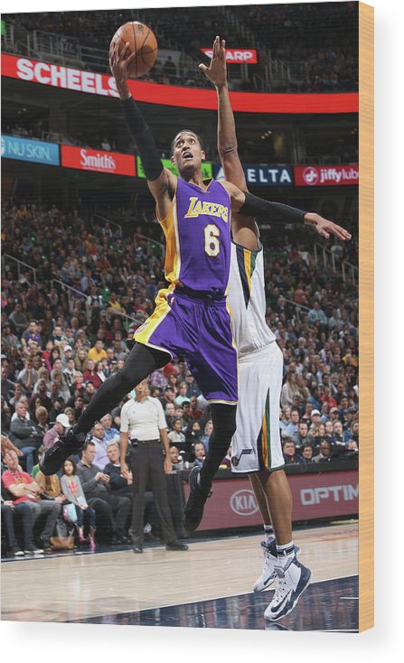 Nba Pro Basketball Wood Print featuring the photograph Jordan Clarkson by Melissa Majchrzak