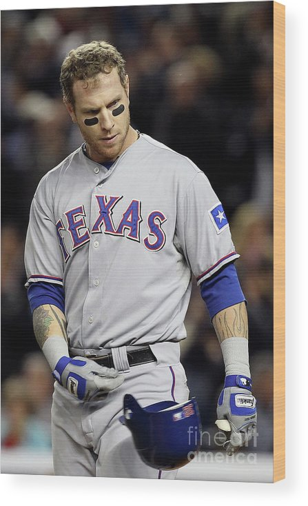Playoffs Wood Print featuring the photograph Josh Hamilton by Al Bello