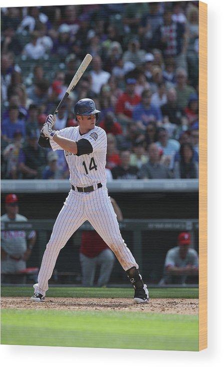 National League Baseball Wood Print featuring the photograph Josh Rutledge by Doug Pensinger