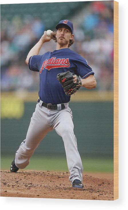 American League Baseball Wood Print featuring the photograph Josh Tomlin by Otto Greule Jr