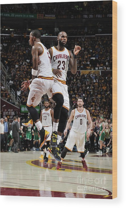 Playoffs Wood Print featuring the photograph J.r. Smith and Lebron James by David Liam Kyle