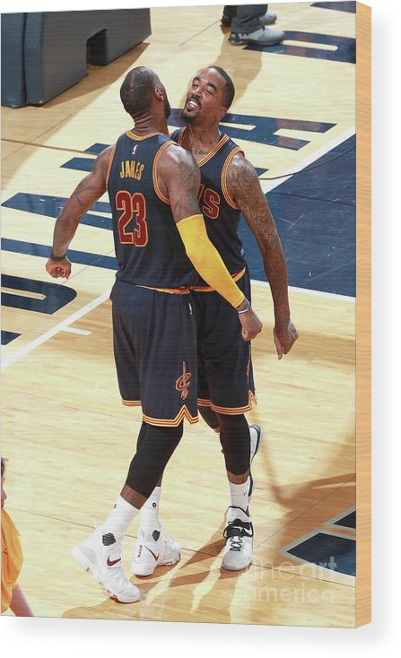 Playoffs Wood Print featuring the photograph J.r. Smith and Lebron James by Jeff Haynes