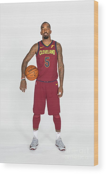 Media Day Wood Print featuring the photograph J.r. Smith by Michael J. Lebrecht Ii