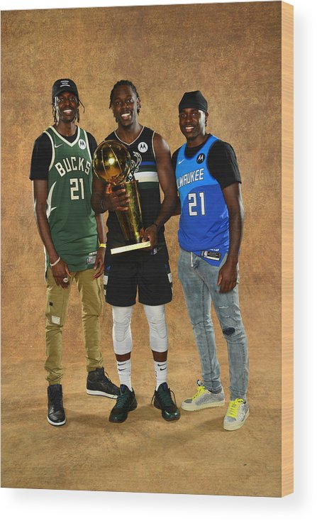 Playoffs Wood Print featuring the photograph Jrue Holiday and Justin Holiday by Jesse D. Garrabrant